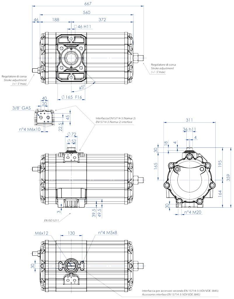 Atuador pneumático de efeito duplo GD em alumínio  - dimensões - Atuador pneumático de efeito duplo tamanho GD 2880 (Nm)
