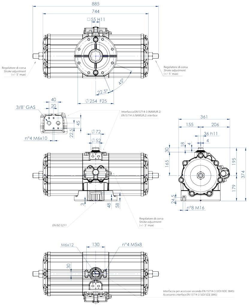 Atuador pneumático de efeito duplo GD em alumínio  - dimensões - Atuador pneumático de efeito duplo tamanho GD 5760 (Nm)