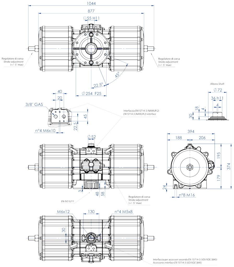 Atuador pneumático de efeito duplo GD em alumínio  - dimensões - Atuador pneumático de efeito duplo tamanho GD 8000 (Nm)