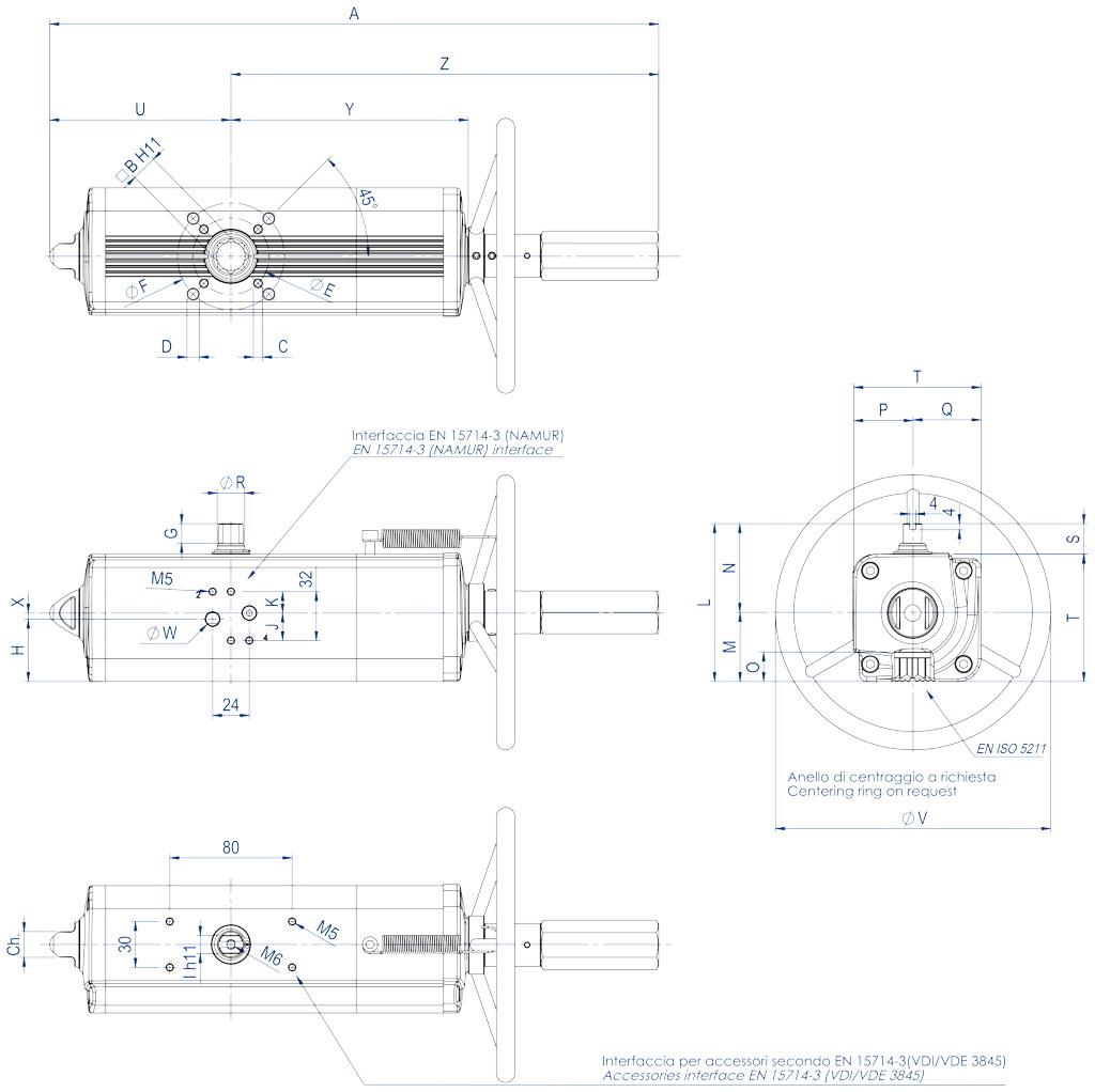 Actuador pneumático de efeito duplo GDV com comando manual integrado - dimensões - GDV60 ÷ GDV1920
