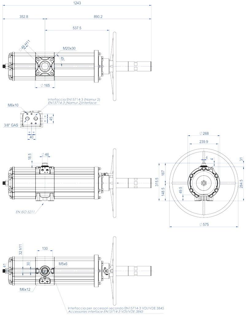 Actuador pneumático de efeito duplo GDV com comando manual integrado - dimensões - GDV3840