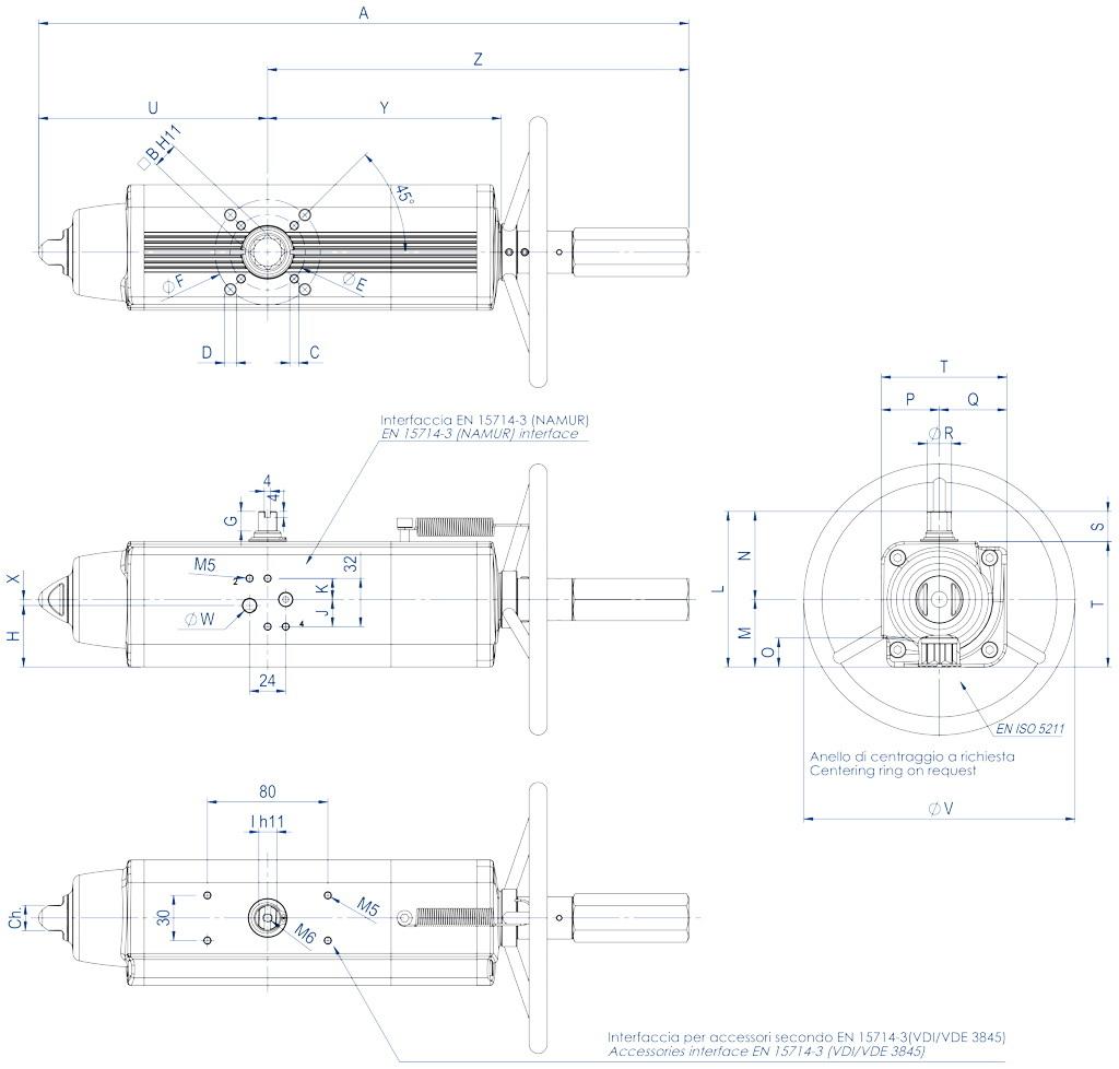 Actuador pneumático de efeito simples GSV com comando manual integrado - dimensões - GSV30 ÷ GSV960