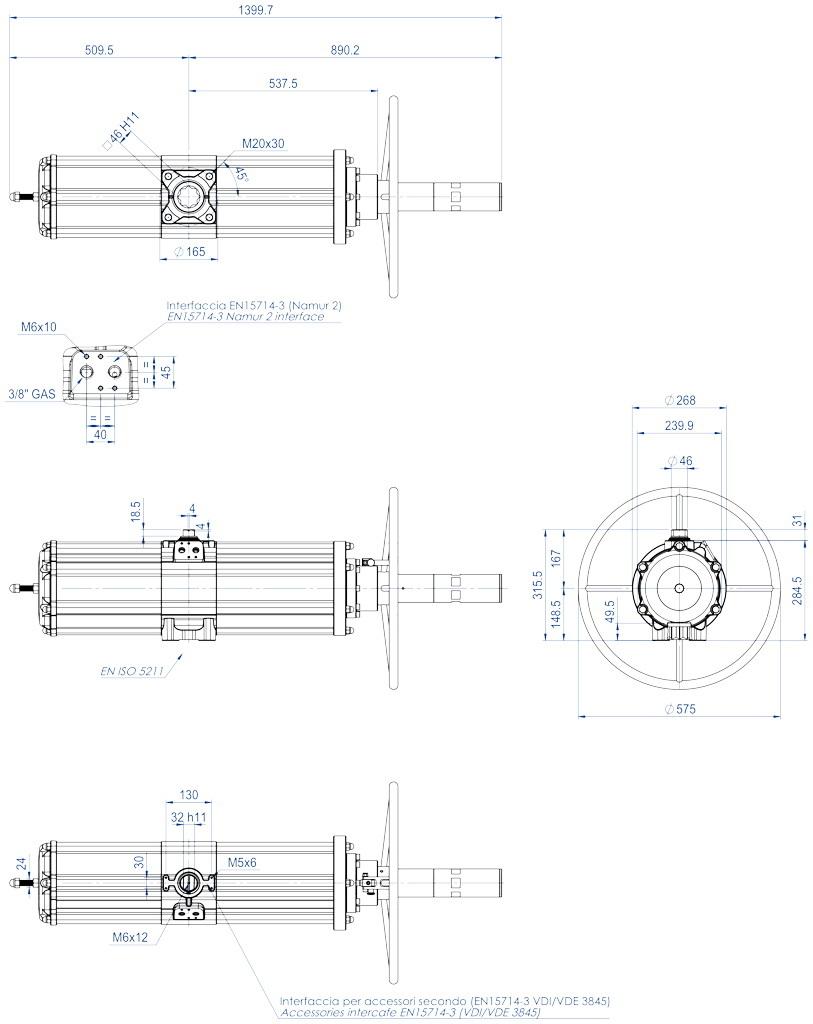 Actuador pneumático de efeito simples GSV com comando manual integrado - dimensões - GSV1920