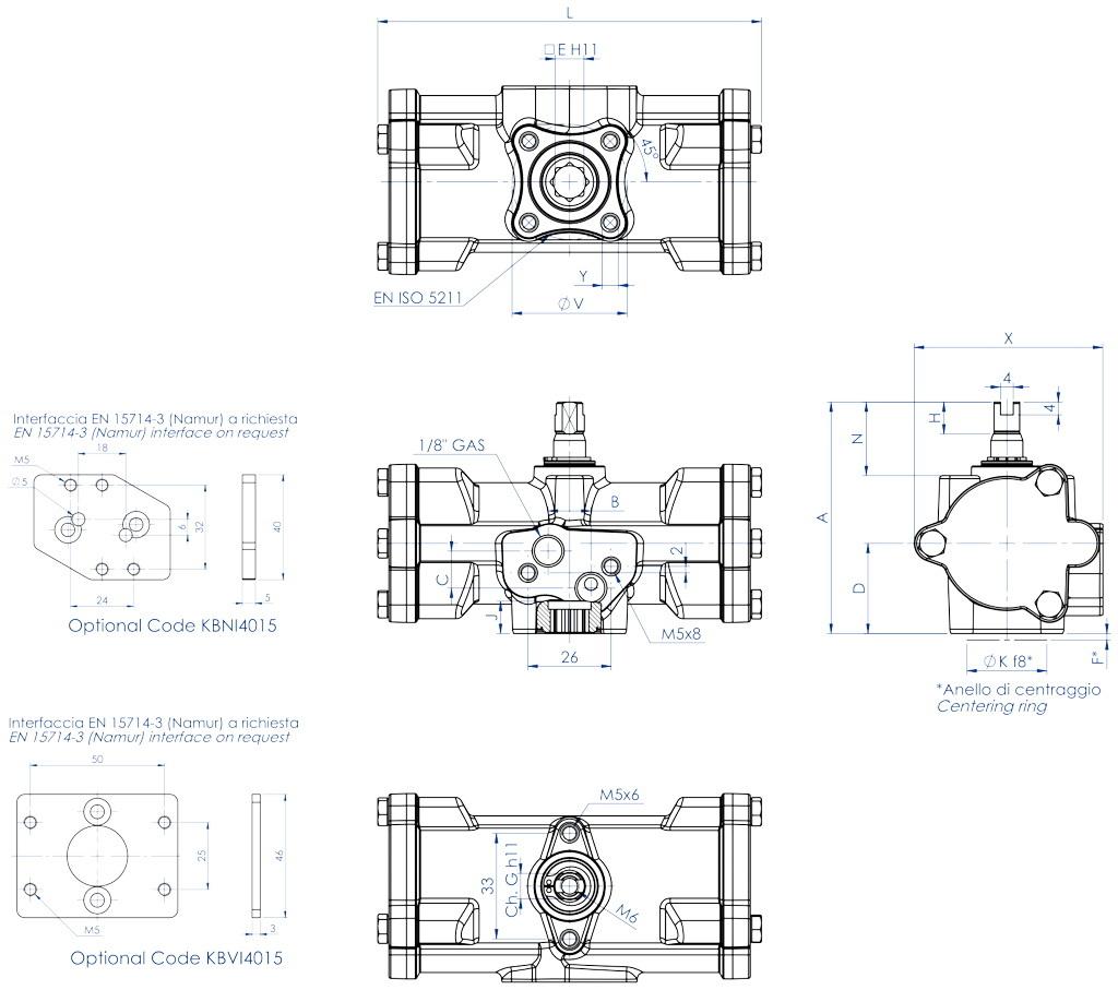 Actuador pneumático de efeito duplo GD inox CF8M microfundido - dimensões - GD15 ÷ GD30