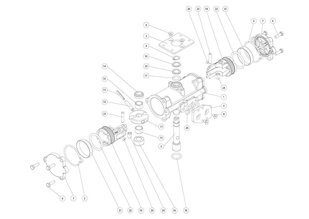 Actuador pneumático de efeito duplo GD inox CF8M microfundido - materiais - COMPONENTES DO ATUADOR PNEUMÁTICO EFEITO DUPLO CF8M TAMANHO: GD 15-GD 30