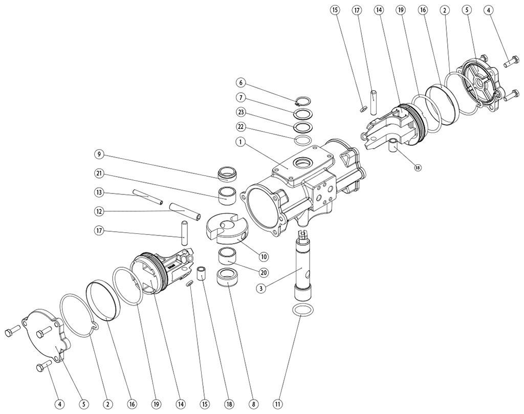 Actuador pneumático de efeito duplo GD inox CF8M microfundido - materiais - COMPONENTES DO ATUADOR PNEUMÁTICO EFEITO DUPLO CF8M TAMANHO: GD 60-GD 480