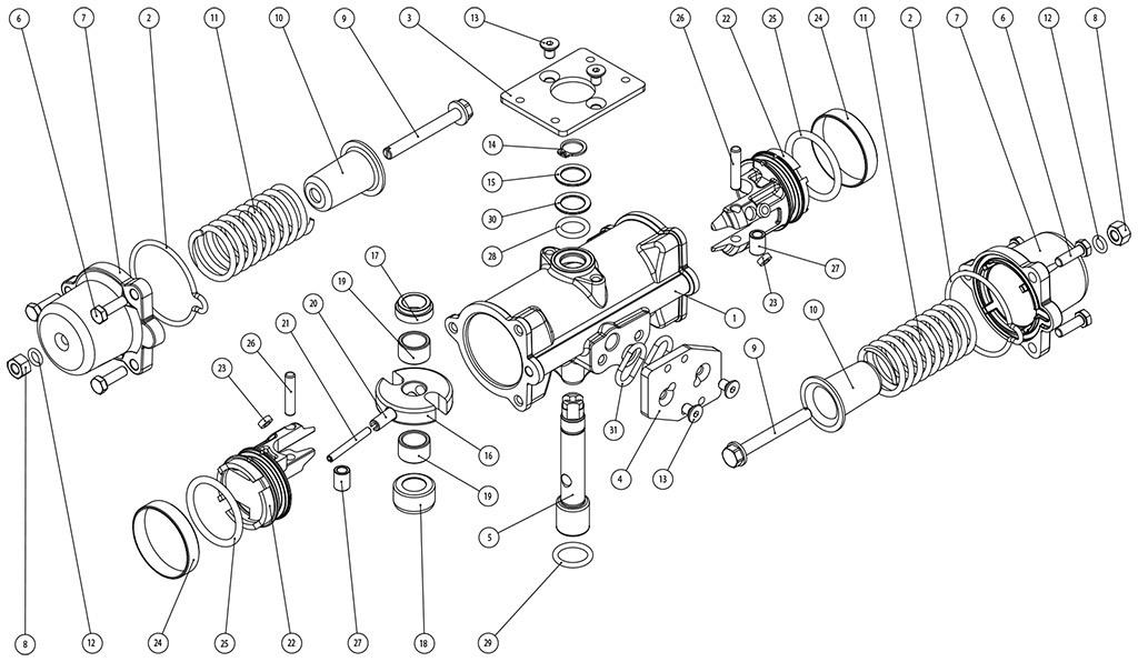 Actuador pneumático de efeito simples GS inox CF8M microfundido - materiais - COMPONENTES DO ATUADOR PNEUMÁTICO EFEITO SIMPLES CF8M TAMANHO: GS15