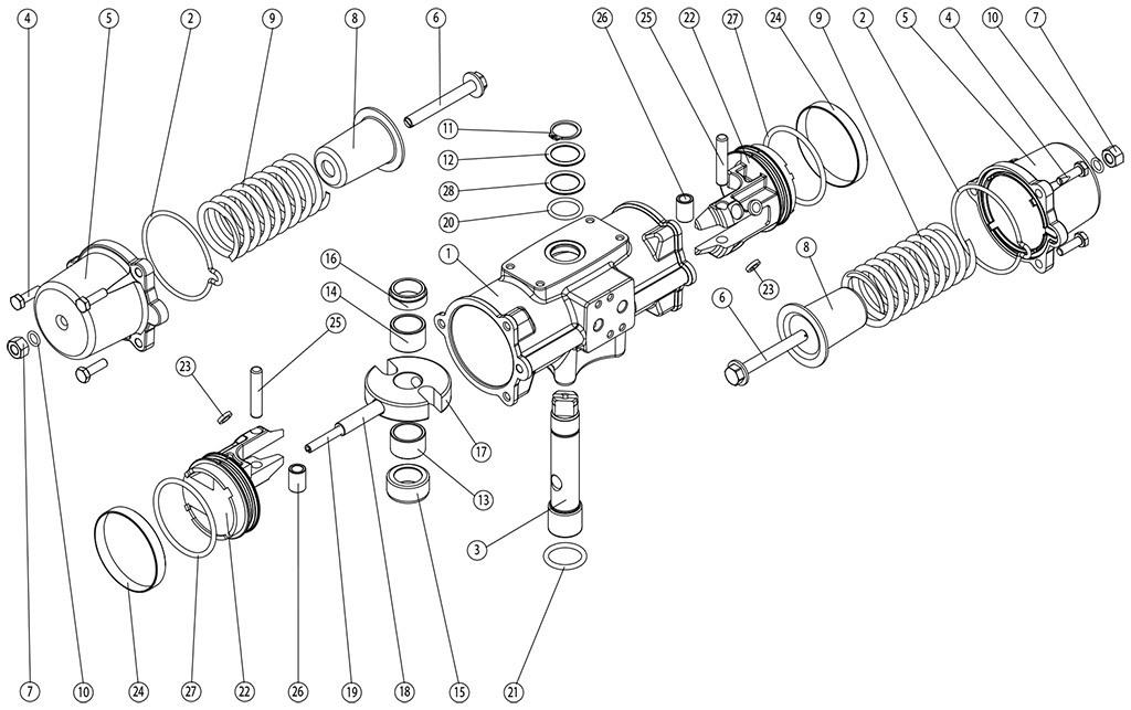 Actuador pneumático de efeito simples GS inox CF8M microfundido - materiais - COMPONENTES DO ATUADOR PNEUMÁTICO EFEITO SIMPLES CF8M TAMANHO: GS30-GS240