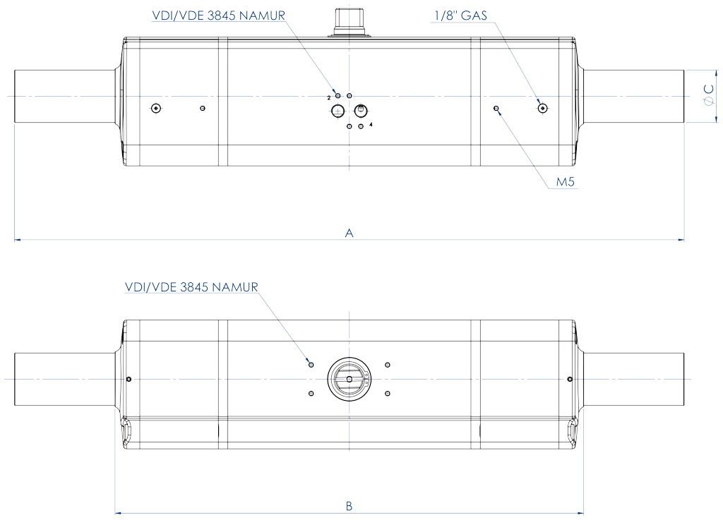 GDD Actuador pneumático dosador em alumínio - dimensões -