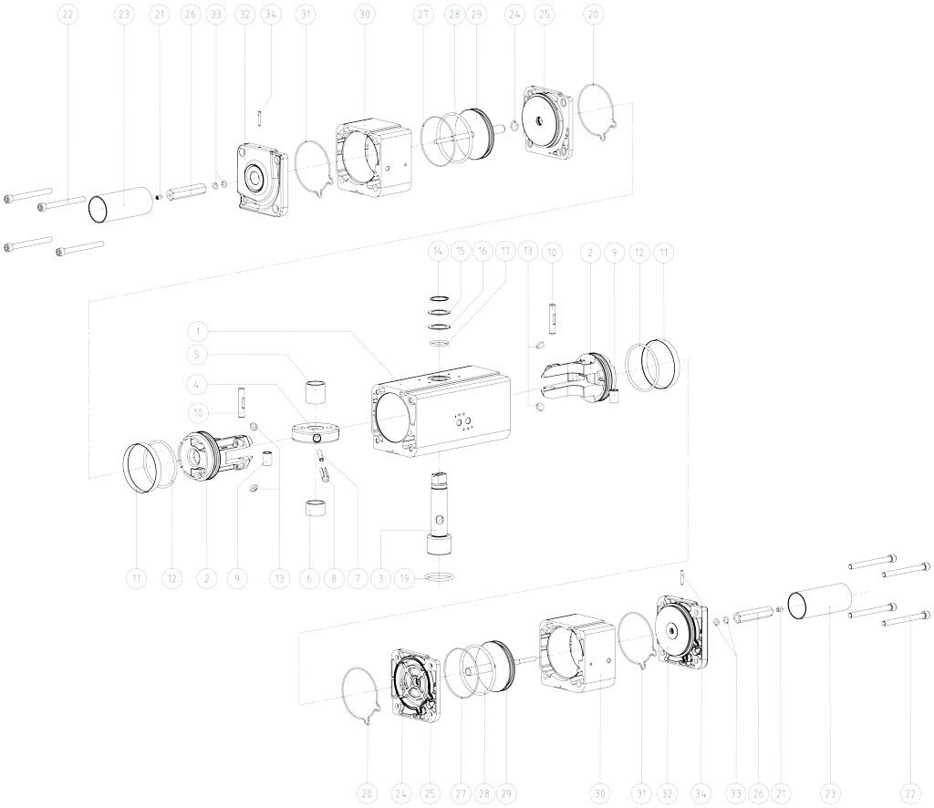 GDD Actuador pneumático dosador em alumínio - materiais - COMPONENTES DO ATUADOR PNEUMÁTICO  DOSADOR DE MEDIDAS: GDD30 - GDD480