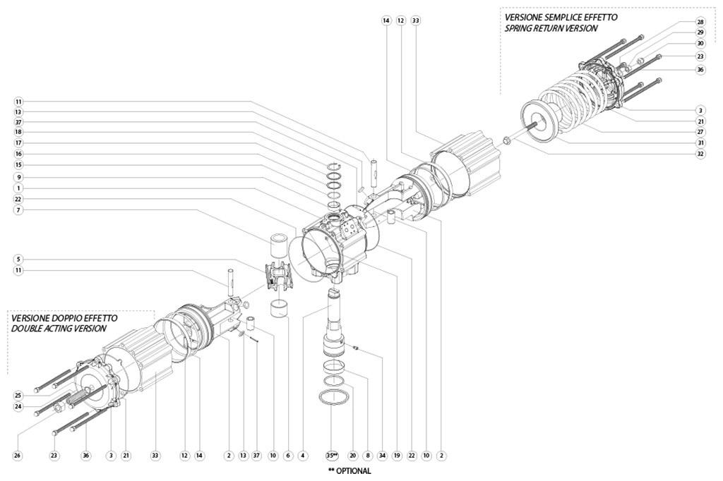 Atuador pneumático de efeito duplo GD em alumínio  - materiais - COMPONENTE ATUADOR PNEUMÁTICO EFEITO DUPLO TAMANHO: GD3840