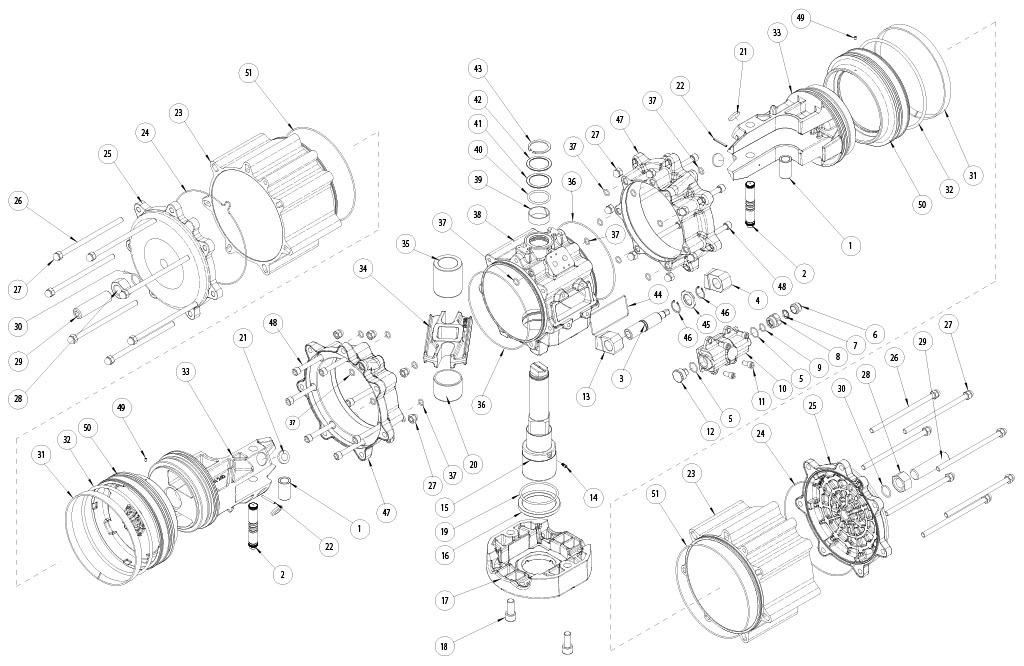 Atuador pneumático de efeito duplo GD em alumínio  - materiais - COMPONENTE ATUADOR PNEUMÁTICO EFEITO DUPLO TAMANHO: GD8000