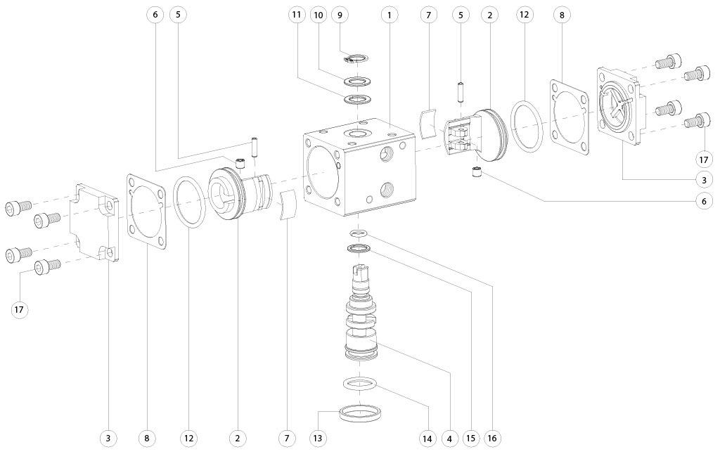Atuador pneumático de efeito duplo GD em alumínio  - materiais - COMPONENTES DO ATUADOR PNEUMÁTICO EFEITO DUPLO TAMANHO: GD8