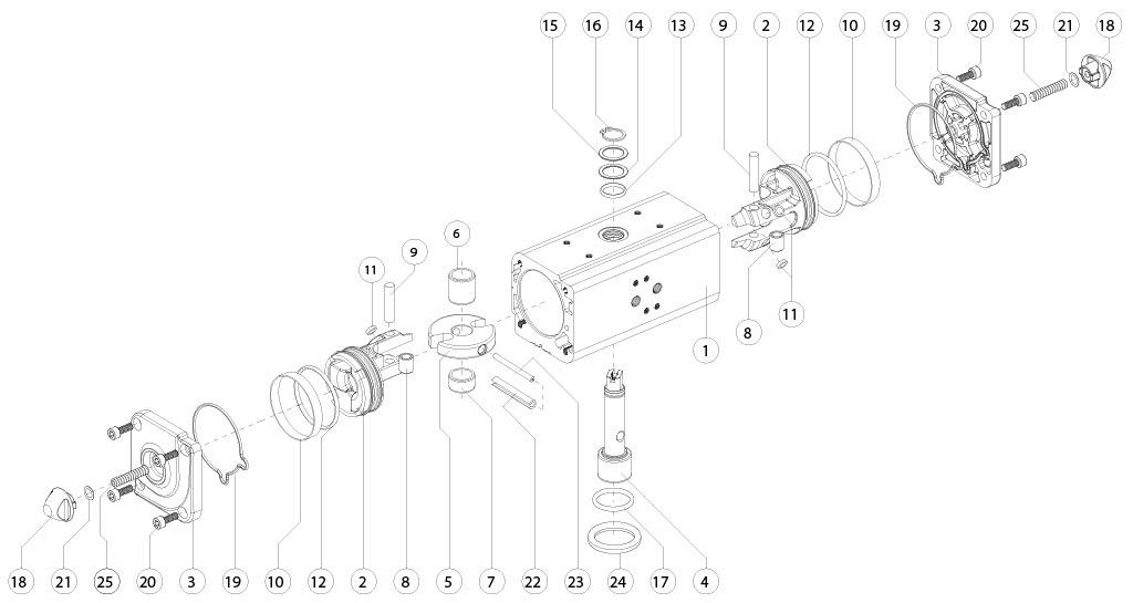 Atuador pneumático de efeito duplo GD em alumínio  - materiais - COMPONENTE ATUADOR PNEUMÁTICO EFEITO DUPLO TAMANHO: GD15-GD1920