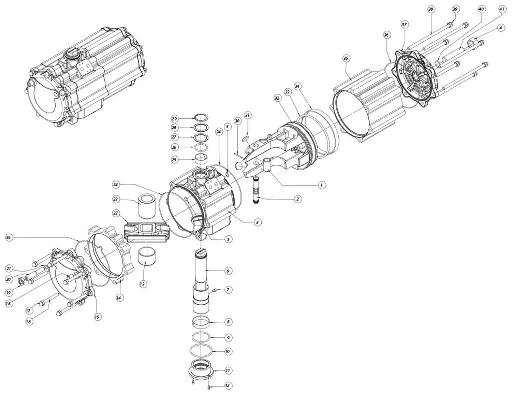 Atuador pneumático de efeito duplo GD em alumínio  - materiais - COMPONENTE ATUADOR PNEUMÁTICO EFEITO DUPLO TAMANHO: GD2880
