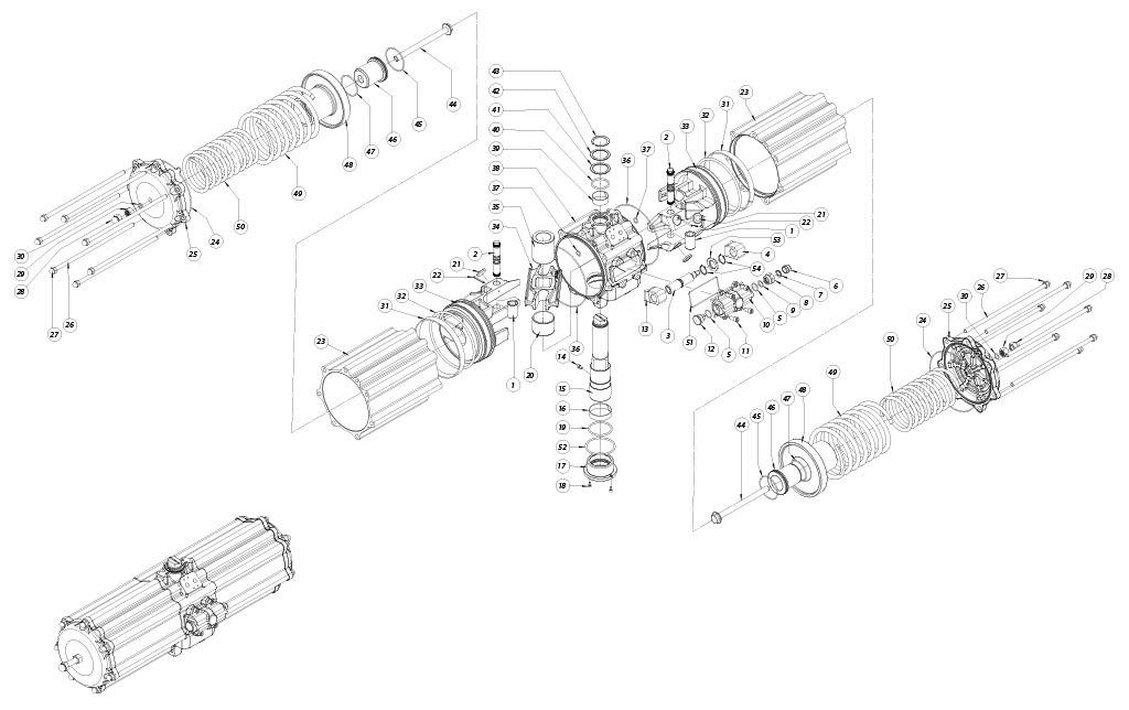 Actuador pneumático de efeito simples GS em alumínio - materiais - COMPONENTES ATUADOR PNEUMÁTICO EFEITO SIMPLES TAMANHO: GS2880