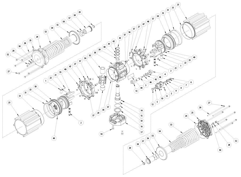 Actuador pneumático de efeito simples GS em alumínio - materiais - COMPONENTES ATUADOR PNEUMÁTICO EFEITO SIMPLES TAMANHO: GS4000