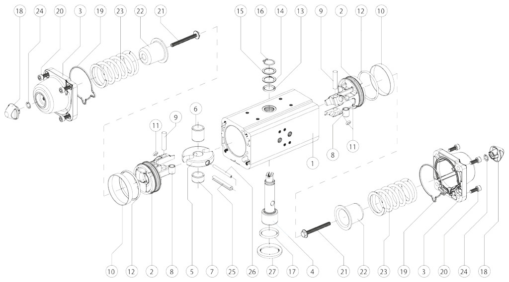 Actuador pneumático de efeito simples GS em alumínio - materiais - ATUADOR PNEUMÁTICO DE COMPONENTES EFEITO DE MEDIÇÃO SIMPLES: GS15-GS960