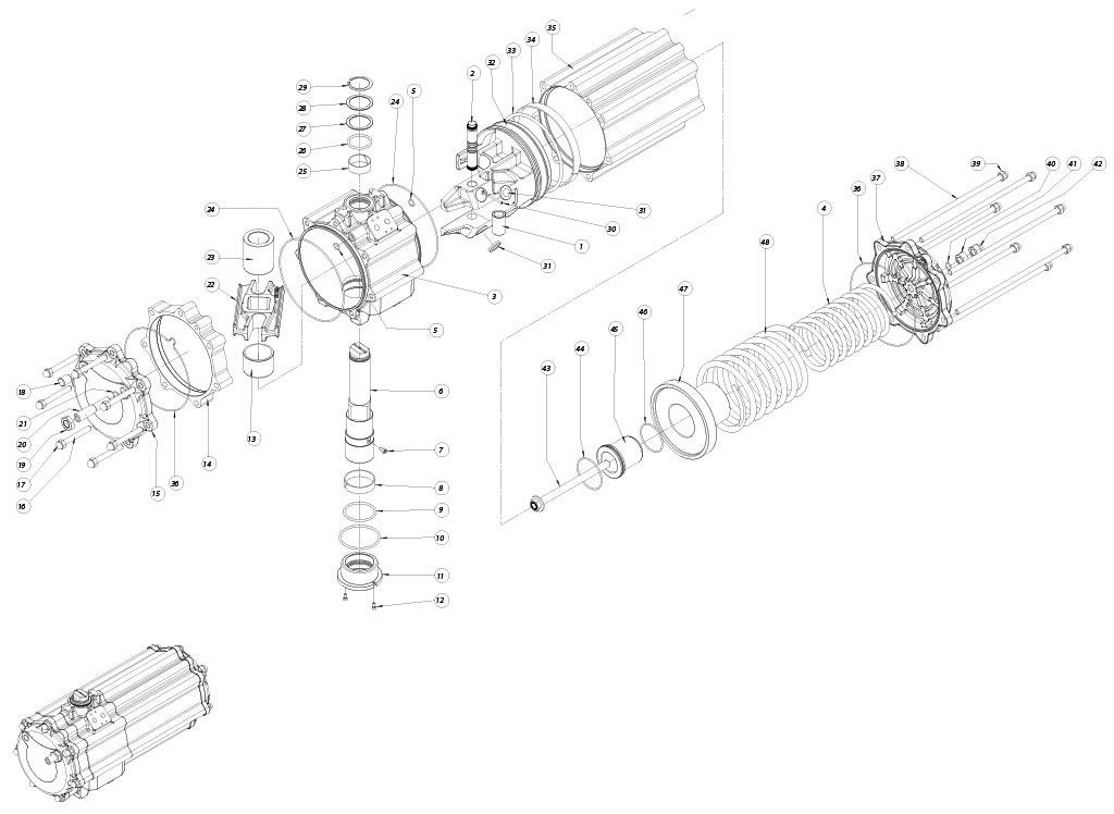Actuador pneumático de efeito simples GS em alumínio - materiais - COMPONENTES ATUADOR PNEUMÁTICO EFEITO SIMPLES TAMANHO: GS1440