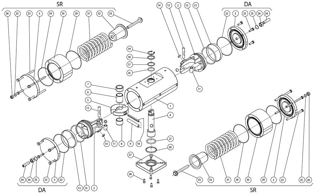 Actuador pneumático de efeito duplo GD aço-carbono A105 - materiais - COMPONENTES ATUADORES PNEUMÁTICOS EFEITO DUPLO E SIMPLES A105 DA BARRA
