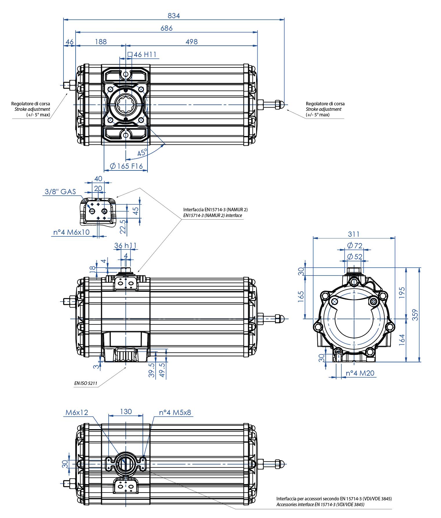 Actuador pneumático de efeito simples GS em alumínio - dimensões - Atuador pneumático efeito simples tamanho GS 1440 (Nm)