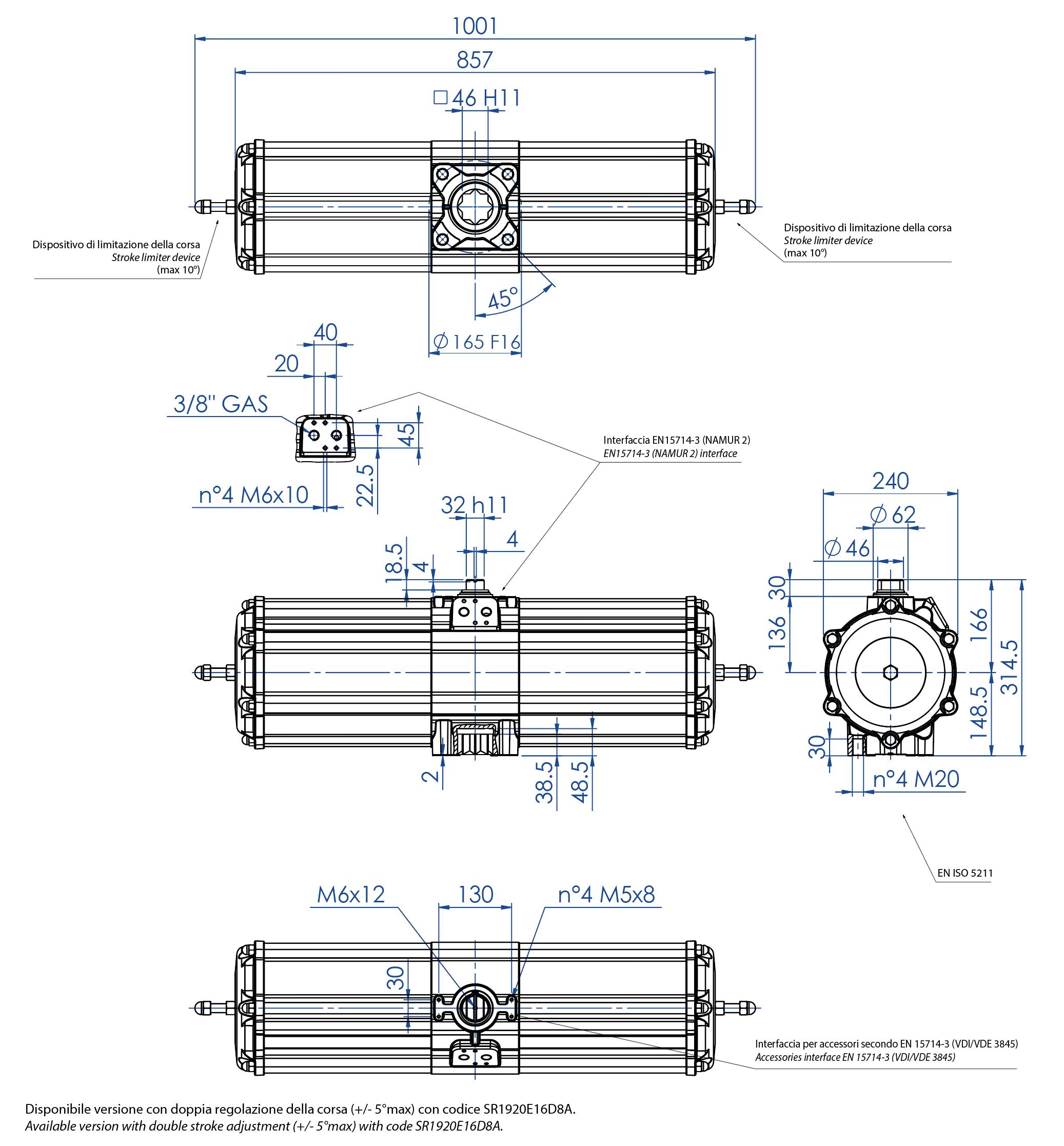 Actuador pneumático de efeito simples GS em alumínio - dimensões -  Atuador pneumático efeito simples tamanho GS 1920 (Nm)