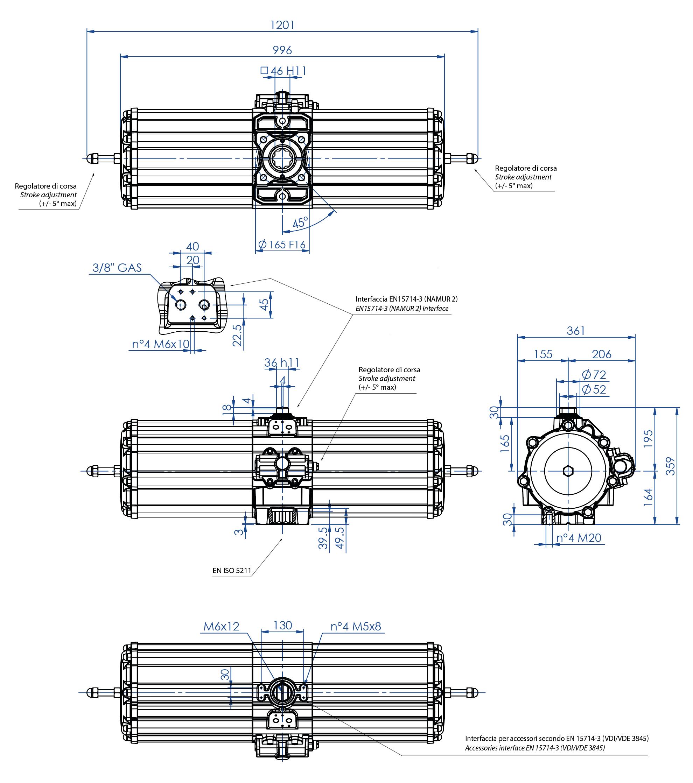 Actuador pneumático de efeito simples GS em alumínio - dimensões - Atuador pneumático efeito simples tamanho GS 2880 (Nm)