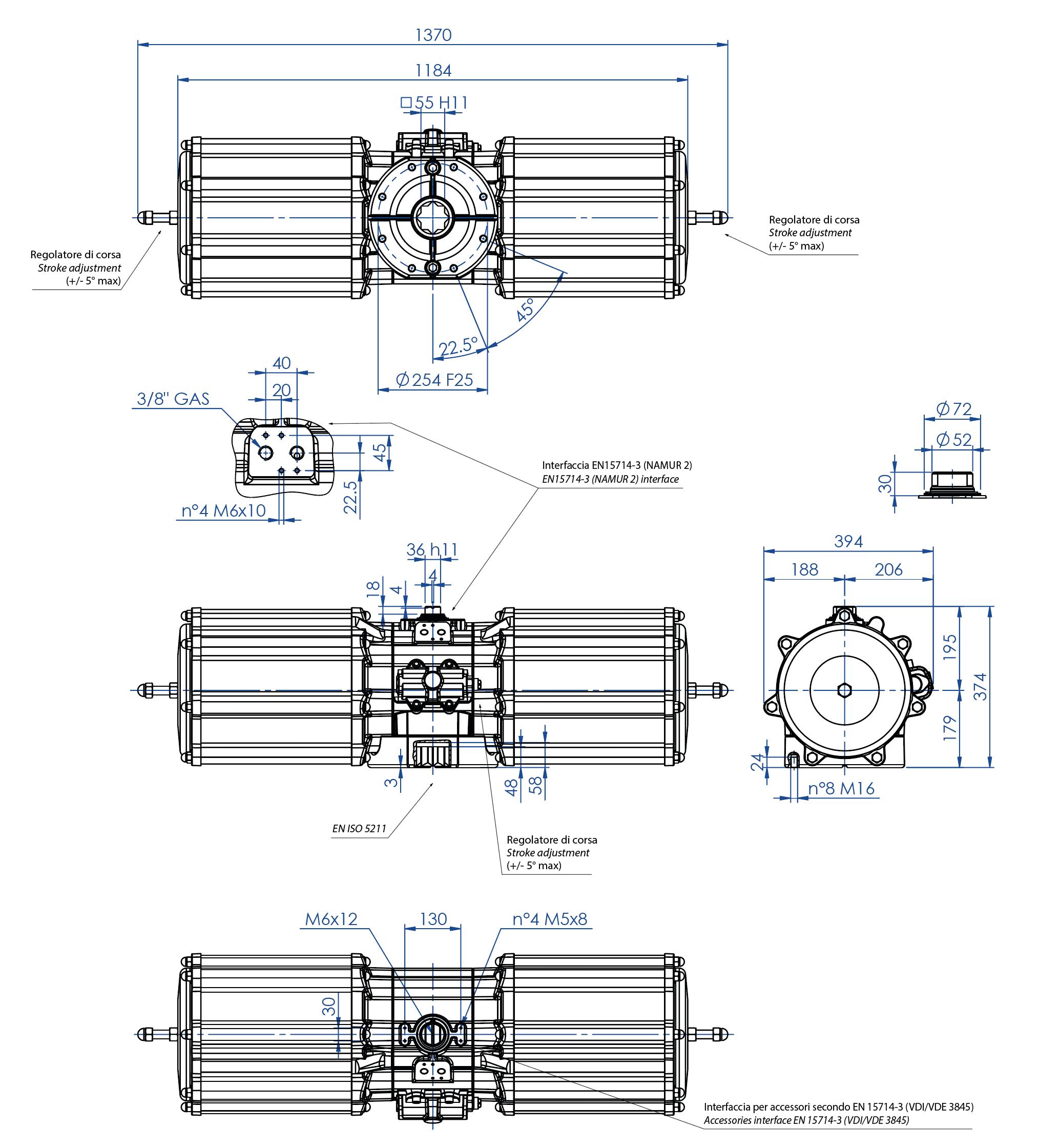 Actuador pneumático de efeito simples GS em alumínio - dimensões - Atuador pneumático efeito simples tamanho GS 4000 (Nm)