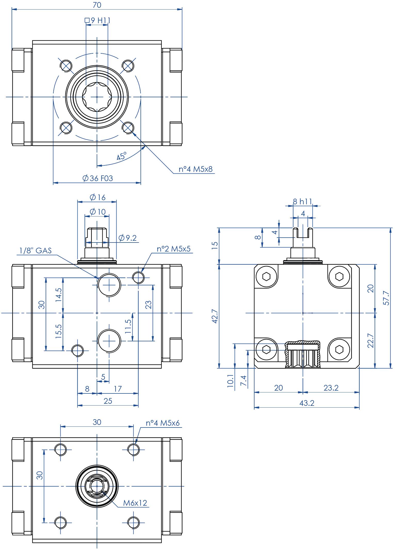 Atuador pneumático de efeito duplo GD em alumínio  - dimensões - Atuador de efeito duplo tamanho GD08 (Nm)