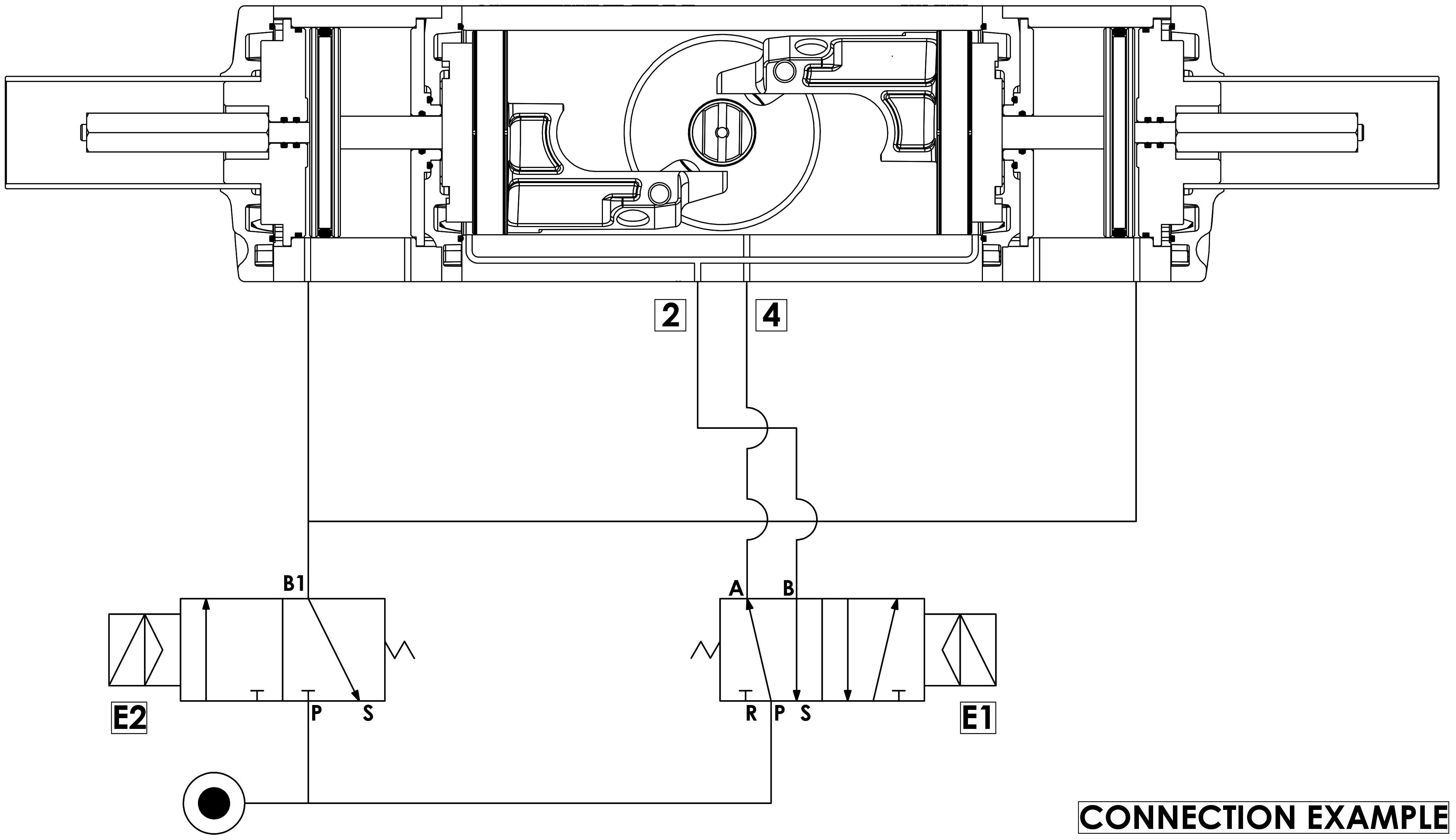 GDD Actuador pneumático dosador em alumínio - especificações - Esquema de funcionamento