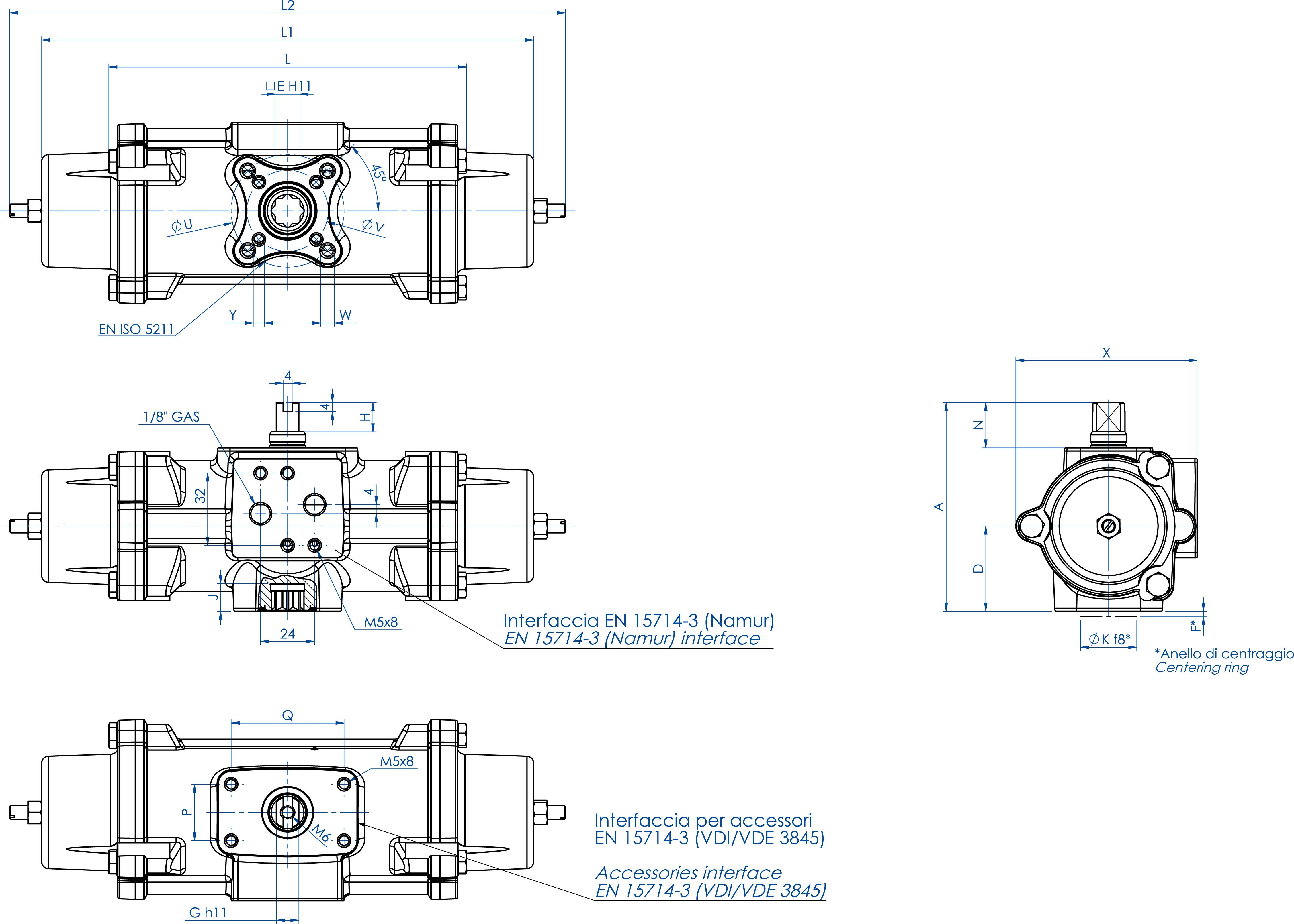 Actuador pneumático de efeito simples GS inox CF8M microfundido - dimensões - GS30 ÷ GS240