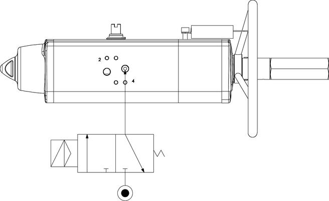 Actuador pneumático de efeito simples GSV com comando manual integrado - especificações -