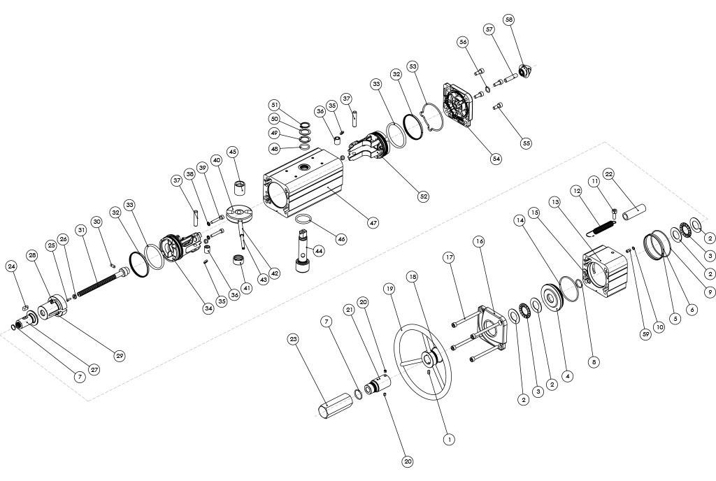 Actuador pneumático de efeito duplo GDV com comando manual integrado - materiais - COMPONENTE ATUADOR PNEUMÁTICO EFEITO DUPLO COM COMANDO MANUAL INTEGRADO - TAMANHO: ATÉ GDV1920
