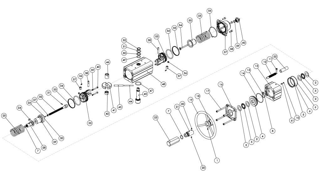 Actuador pneumático de efeito simples GSV com comando manual integrado - materiais - COMPONENTES ATUADOR PNEUMÁTICO EFEITO SIMPLES COM COMANDO MANUAL INTEGRADO - TAMANHOS: ATÉ GSV960