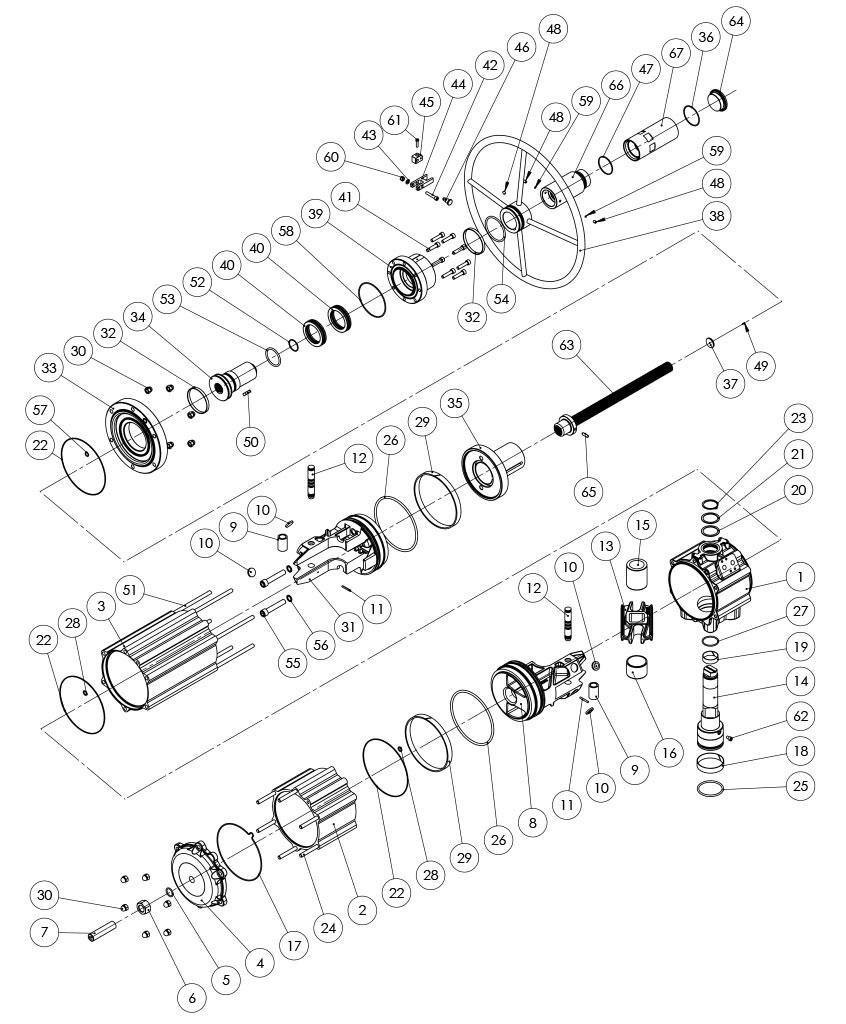 Actuador pneumático de efeito duplo GDV com comando manual integrado - materiais - COMPONENTE ATUADOR PNEUMÁTICO EFEITO DUPLO COM COMANDO MANUAL INTEGRADO - TAMANHO: GDV3840