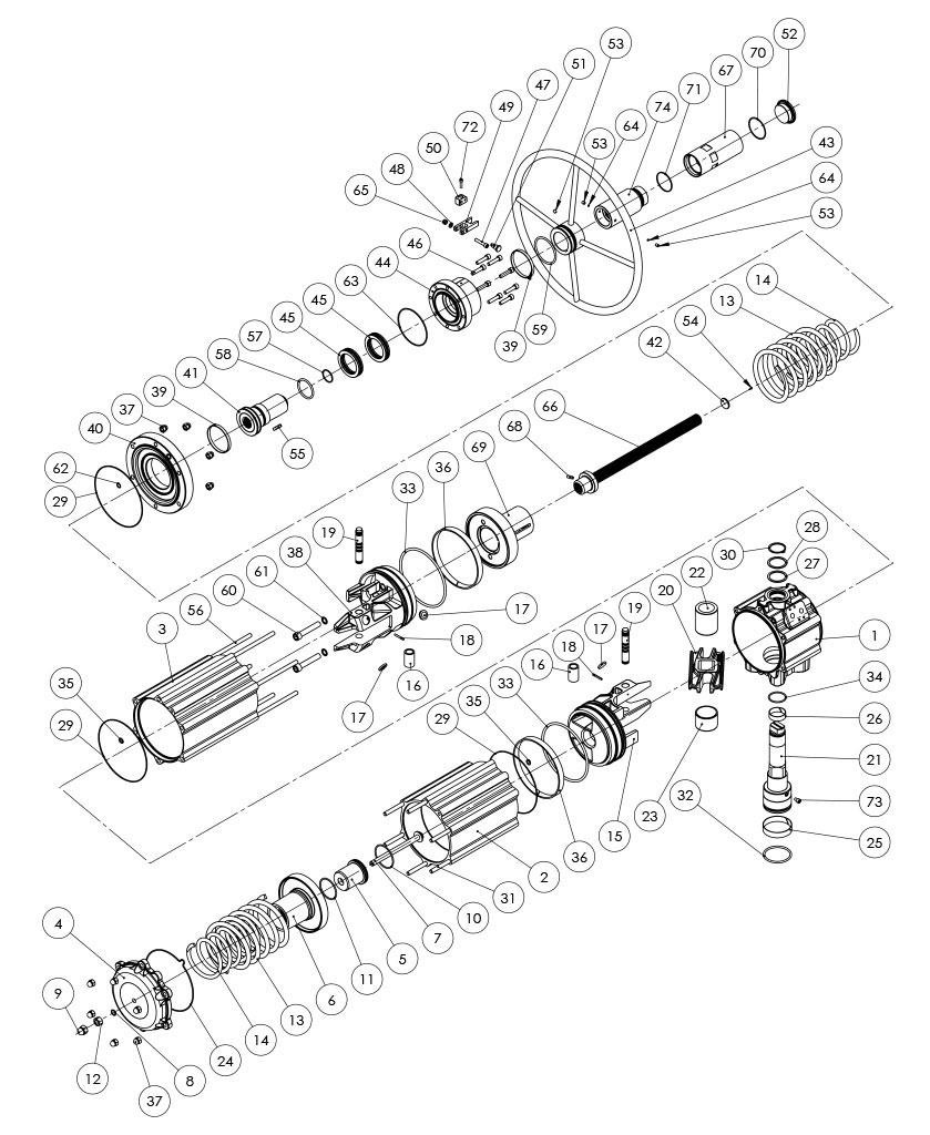 Actuador pneumático de efeito simples GSV com comando manual integrado - materiais -  COMPONENTES DO ATUADOR PNEUMÁTICO EFEITO SIMPLES COM CONTROLE MANUAL INTEGRADO - TAMANHO: GSV1920