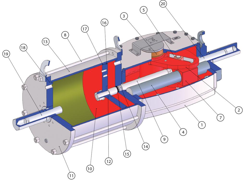 Actuador pneumático de efeito simples GD Heavy Duty aço-carbono - materiais -