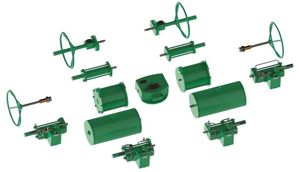 Actuador pneumático de efeito simples GD Heavy Duty aço-carbono - acessórios - Design de Construção Modular