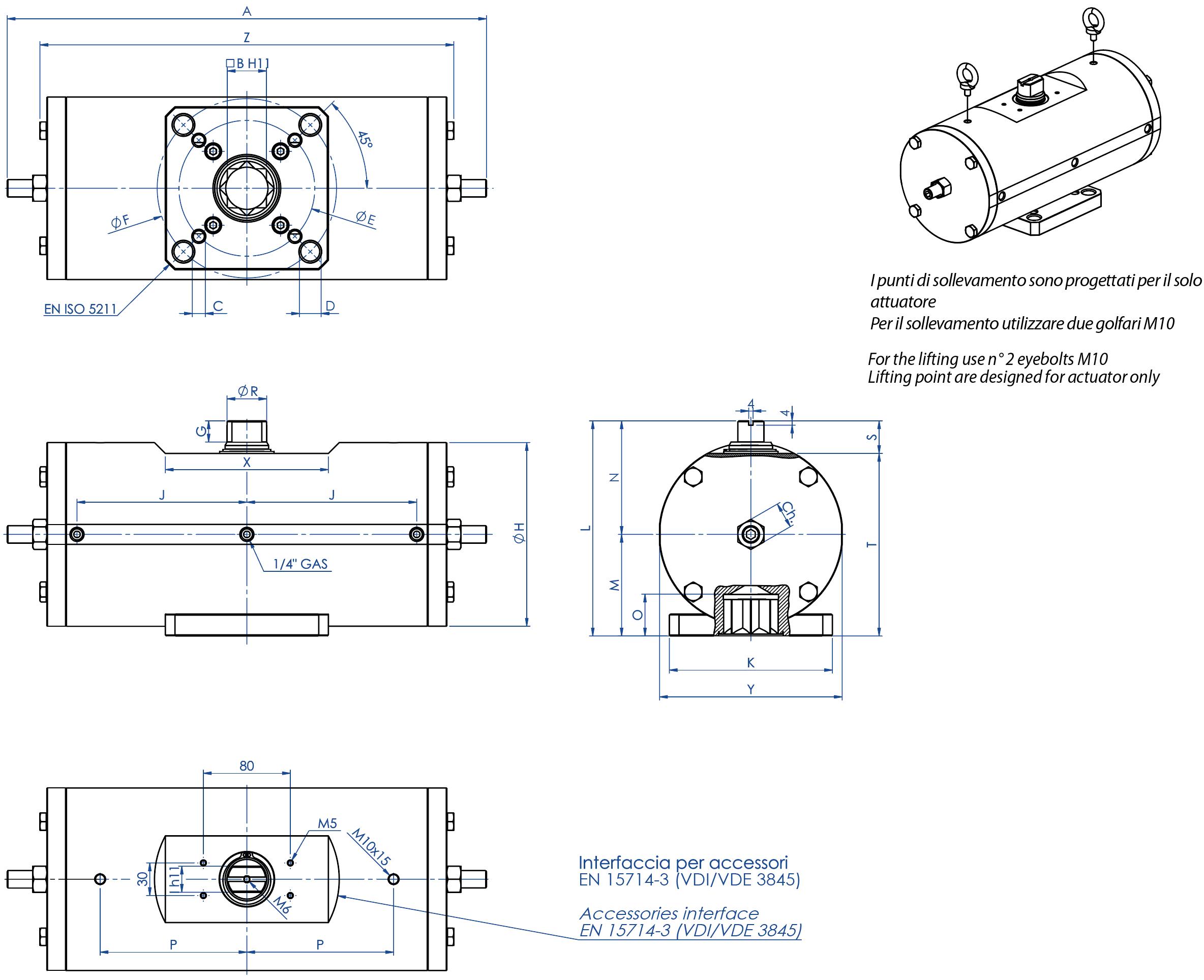 Actuador pneumático de efeito duplo GD aço-carbono A105 - dimensões -