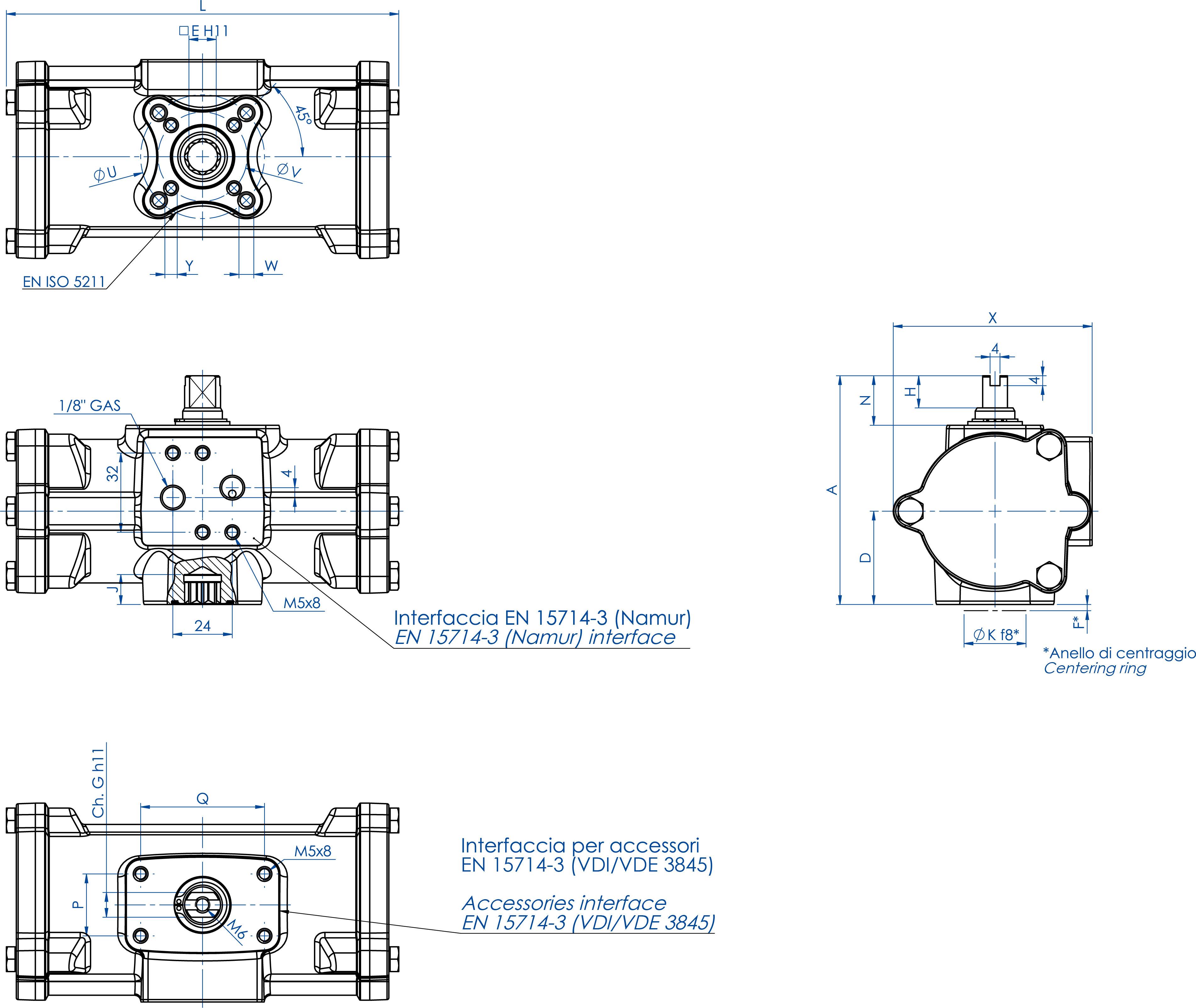 Actuador pneumático de efeito duplo GD inox CF8M microfundido - dimensões - GD60 ÷ GD480